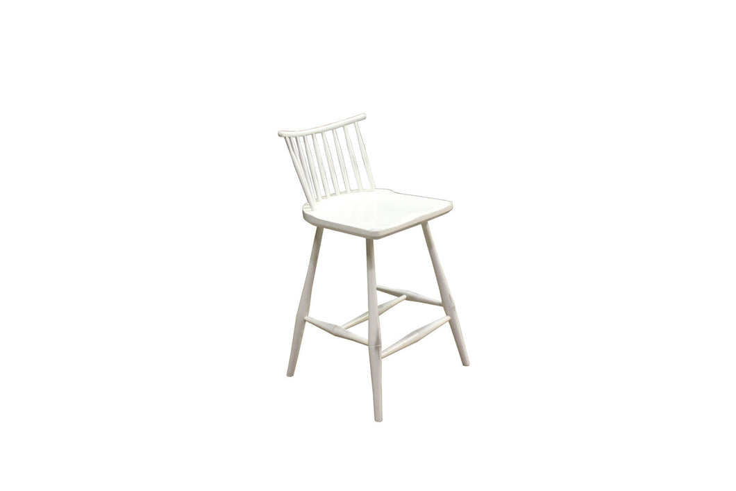 Rod Back Bar Chair | Contemporary Solid Wood White Windsor Bar Chair