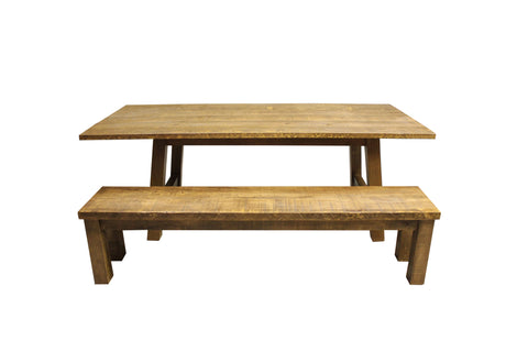 Rough Sawn Pine Dining Table | Rustic Solid Wood Dining Table