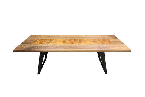 Gianni Dining Table | Contemporary Large Walnut + Black Metal Table