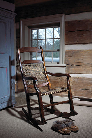 Snowshoe Rocker | Modern Country Rawhide + Wood French Rocking Chair