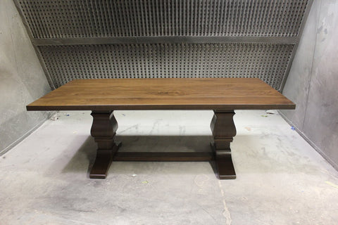 Solid Walnut Trestle Table | Contemporary Walnut Double Pedestal Table