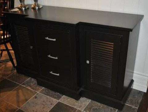 The Cape Buffet | Custom Contemporary Louvered Solid Wood Sideboard
