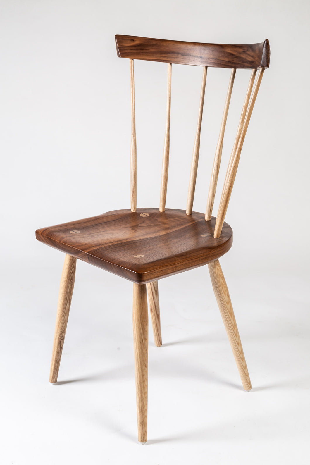 Modern Walnut Fan Back Dining Chair