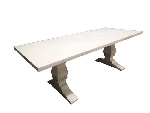 White Trestle Table | Contemporary Rectangular Solid Wood Dining Table
