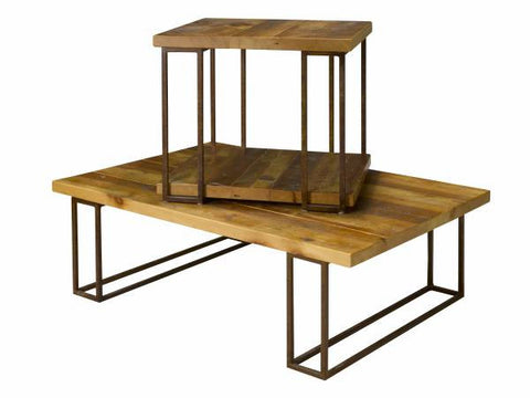 Reclaimed Pine Side Table | Rustic Solid Wood + Metal Side Table
