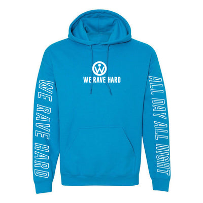 We Rave Hard Sapphire Blue Hoodie (Reflective Print) - We Rave Hard