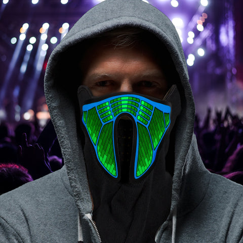 Green Light Up Mask - We Rave Hard