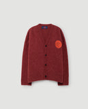 Peasant kids cardigan - red apple round face