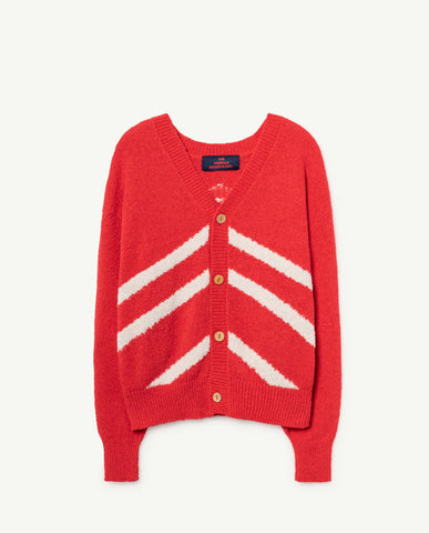 STRIPES RACOON CARDIGAN // RED
