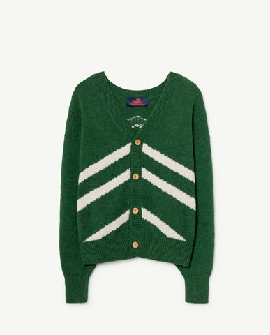 STRIPES RACOON CARDIGAN // GREEN