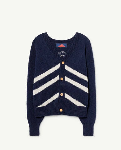 STRIPES RACOON CARDIGAN // NAVY BLUE