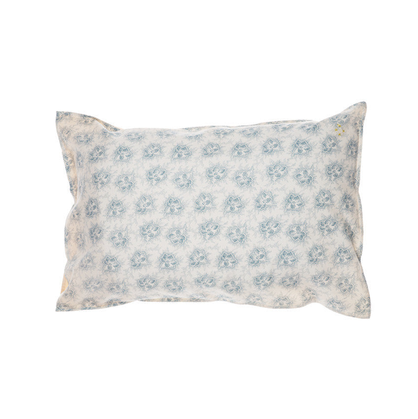 Printed pillow case - spot floral ivory/steel blue - KID - 1