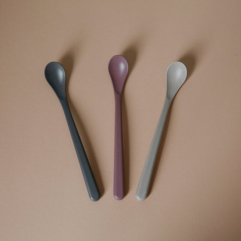Bamboo feeding spoon 3 pack - fog/beet/ocean