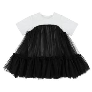 Oversized T-shirt + Tulle Dress - Black