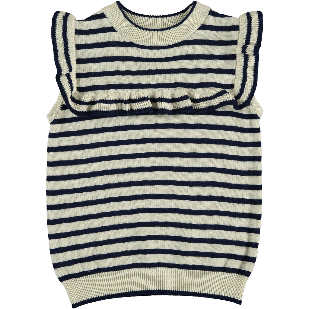 Abby - Stripe Off White Indigo