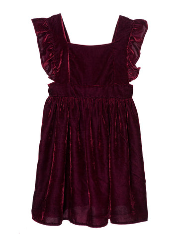 Velvet Apron Dress Frankie - Red