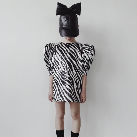 Puffsleeved Dress - Glimmer Zebra