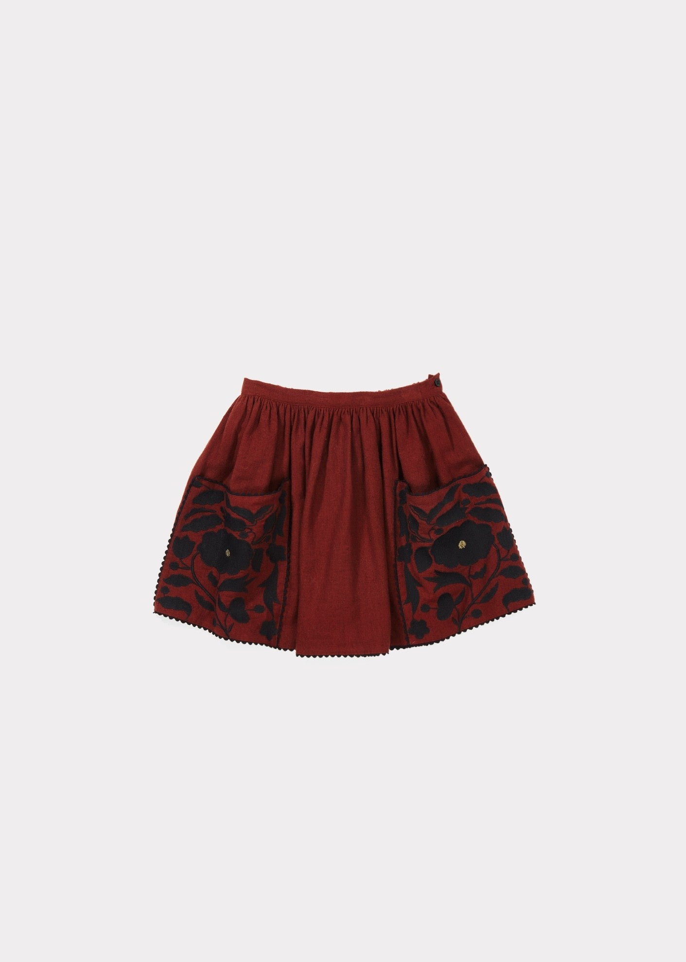 Cow Embroidered Skirt - Burnt Ochre