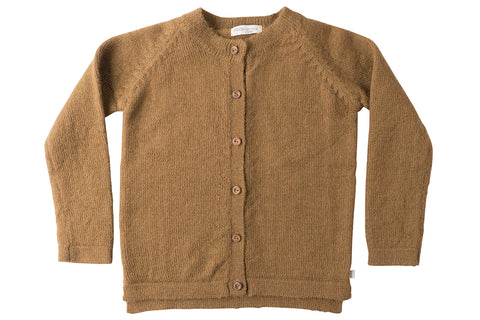 Copenhagen round neck wool cardigan - autumn leaf