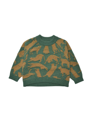 Cat Patterned Knit - Green