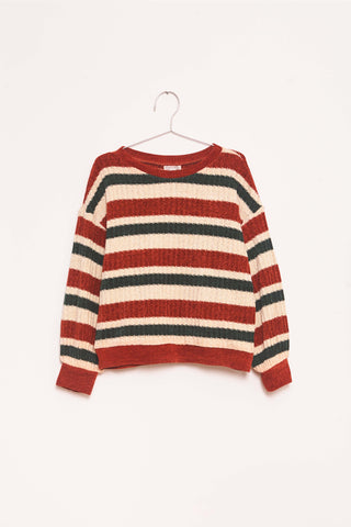 Chenille Stripes Pullover - Navy