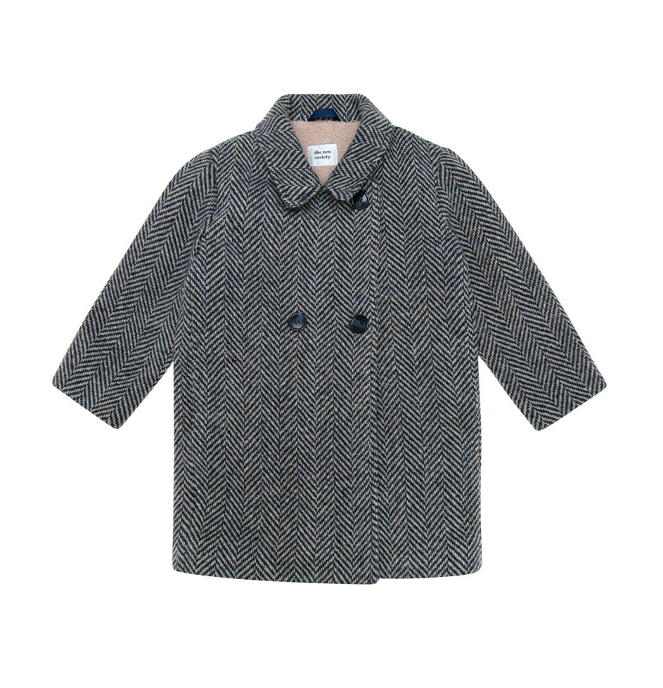 Hope Coat With Lapel Collar - Herringbone Fantasy