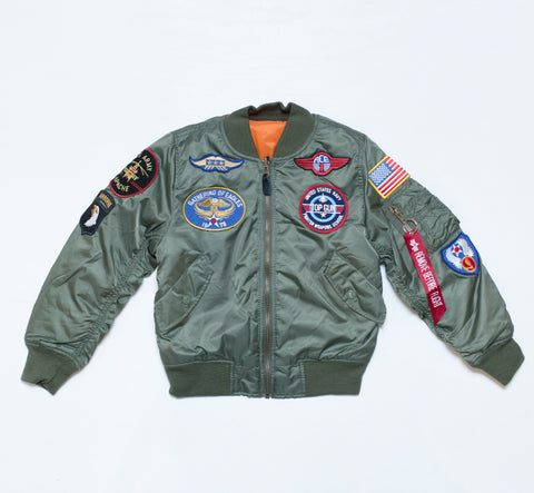 MA-1 jacket with patches - sage green