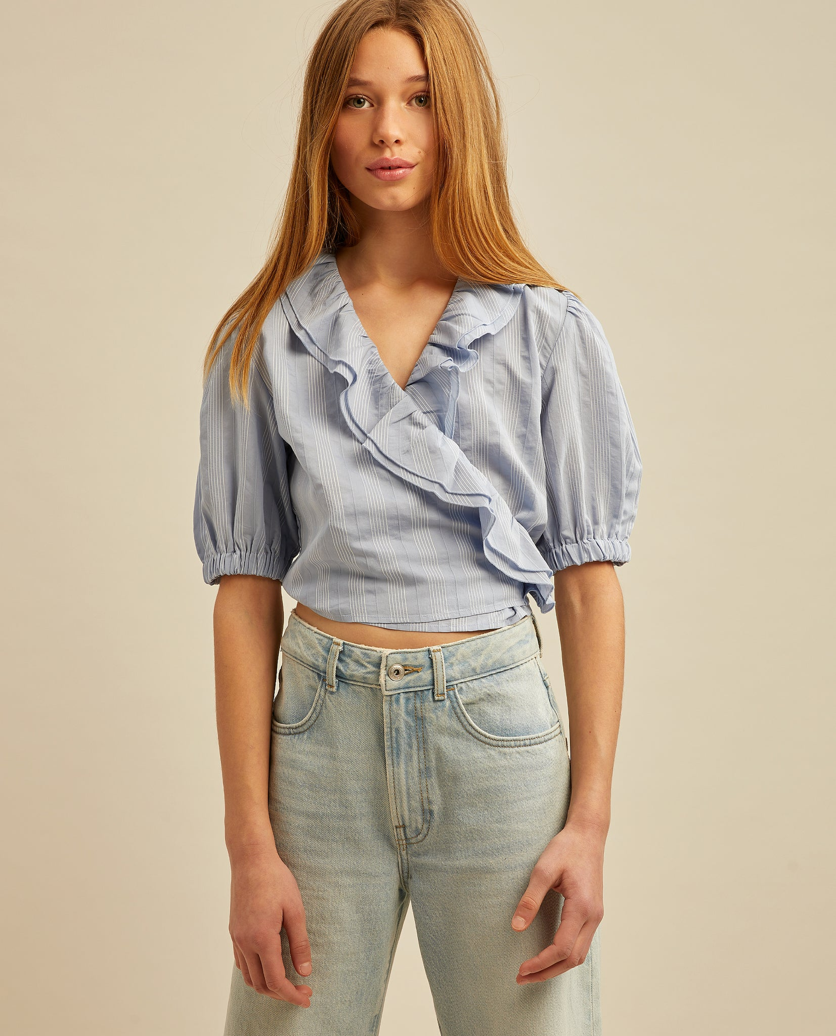 Bruna top - Bright Blue White Stripe