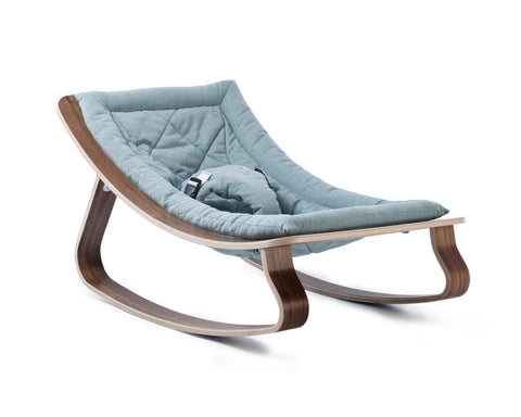 Baby rocker levo walnut- aruba blue