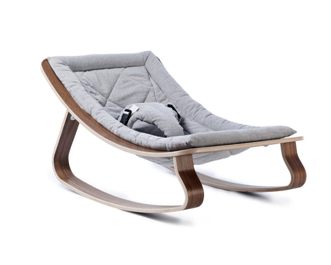 Baby rocker levo walnut- sweet grey