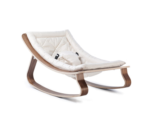 Baby rocker levo walnut- gentle white