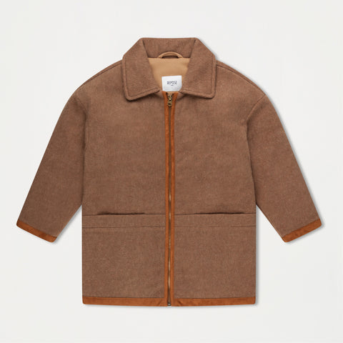 Bomber with Collar - Sand brown