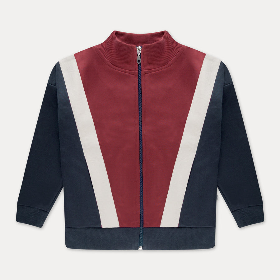 Track jacket - weathered berry color block