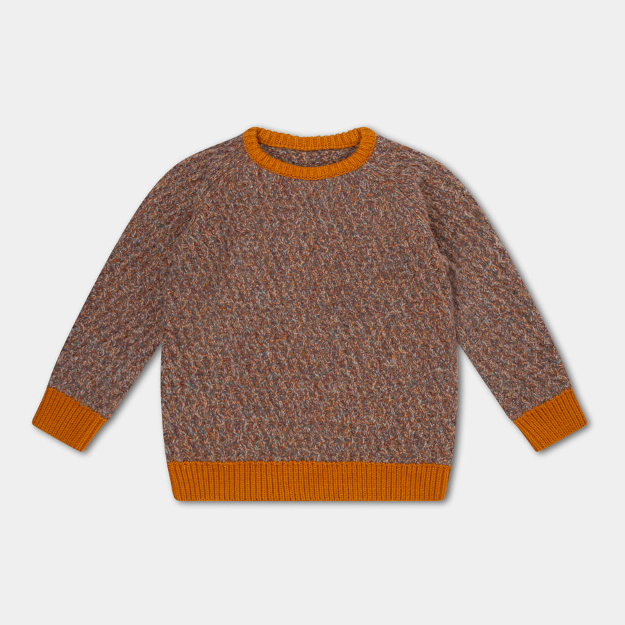 Knitted Raglan Sweater / Contrast Twill