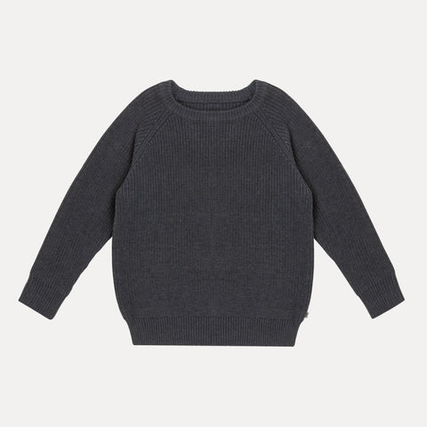 Knitted Raglan Sweater - Naval Blue