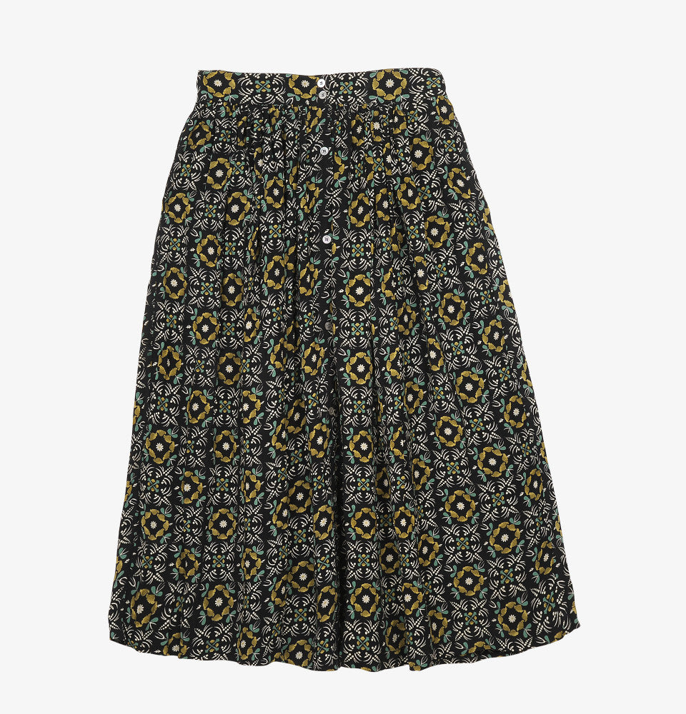 Eugene Skirt - Green/Ocre