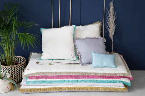 Hippie mattress - fringes turquoise