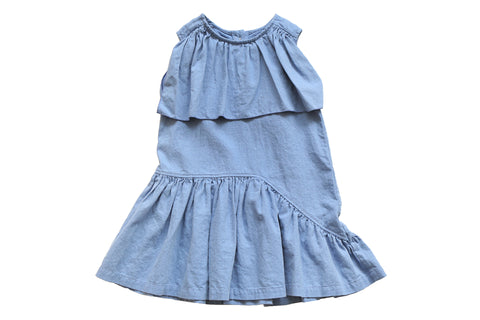 Dress with ruffles // blue
