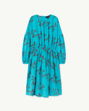 Blue Tortoise Kids Dress - Blue Los Animals