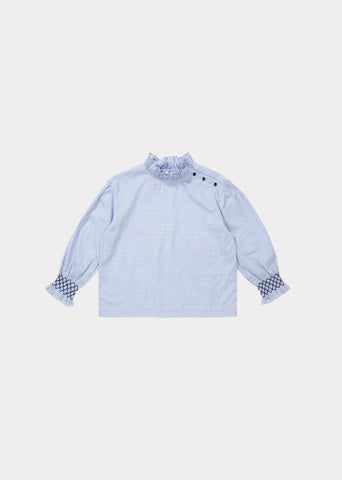 Ladybird blouse - sky blue check