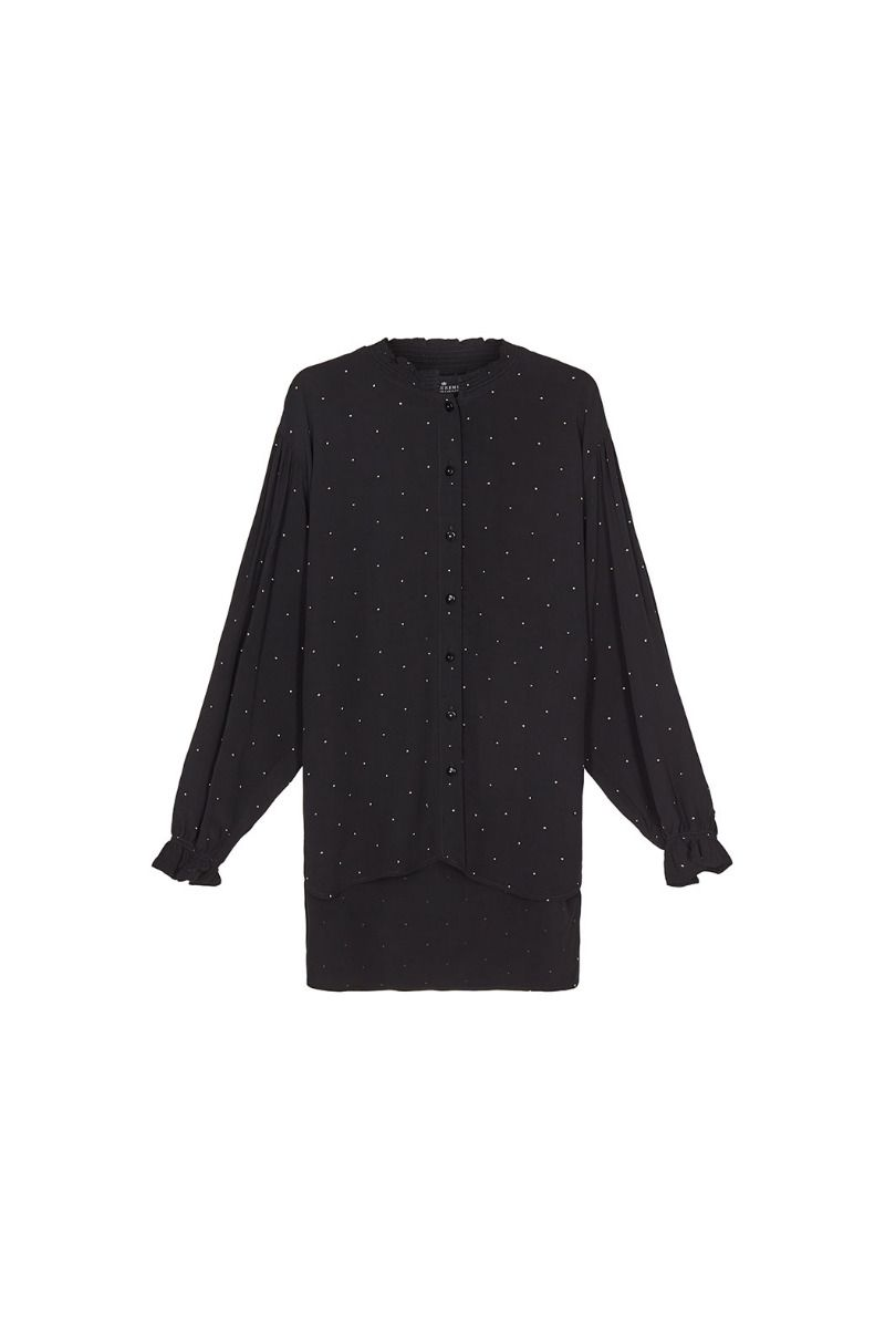 Leana Shirt - Black/Yellow Dot