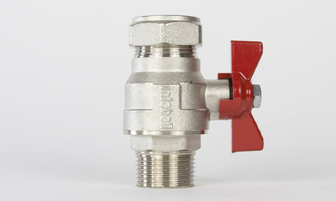 "BVM1F1(R)-C - 1"" male/female full bore ball valve (red)"