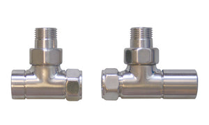 Salston angled valves - brushed satin finish (pair)