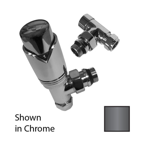 Ultima Angled Thermostatic Valve Pack 10/15mm Black Nickel