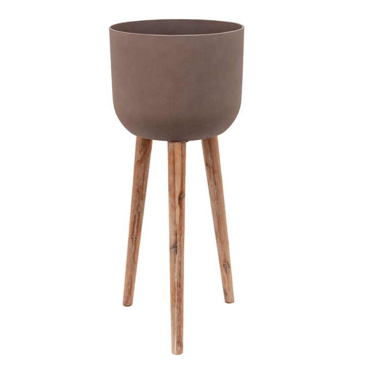 CACHE-POT SUR PIED - Pot marron