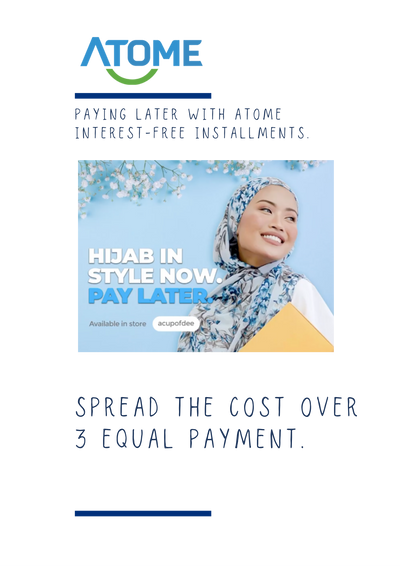Shop with ease & Pay in 3! (; Use ATOME for interest free instalment plans!