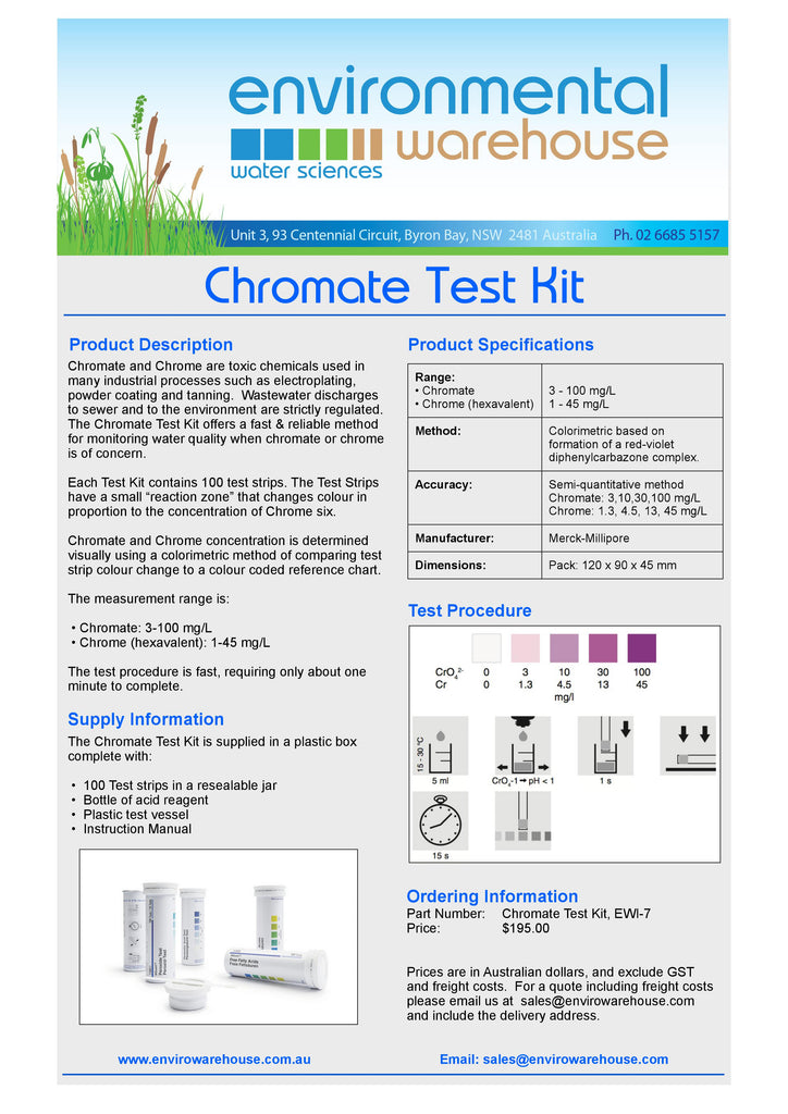 Envirowarehouse Chromite Test Kit