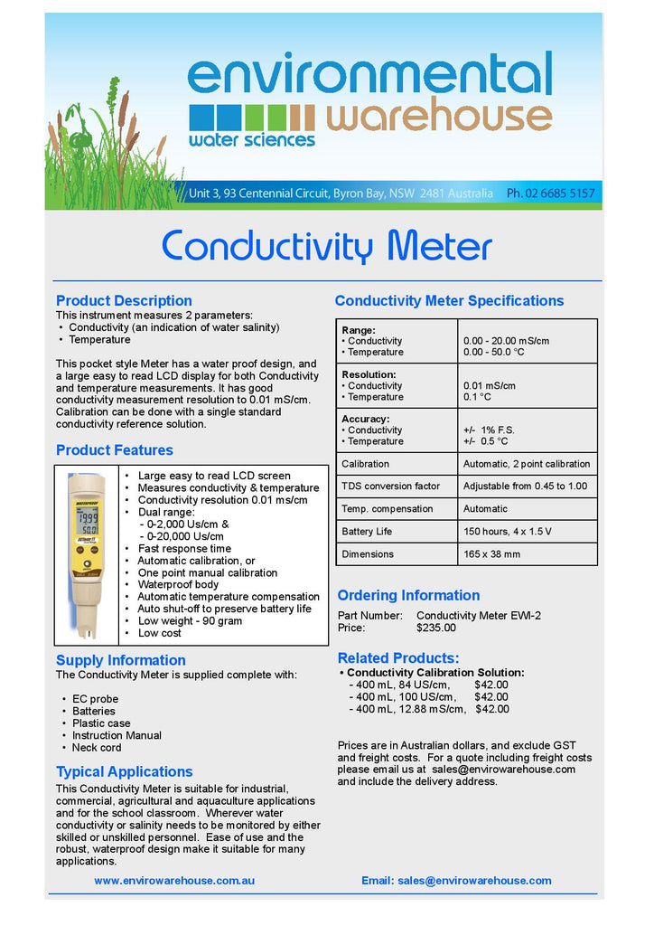 Conductivity Meter for measurement of conductivity