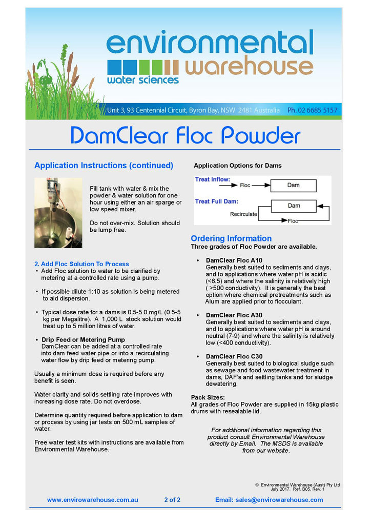DamClear Flocculant powder - envirowarehouse