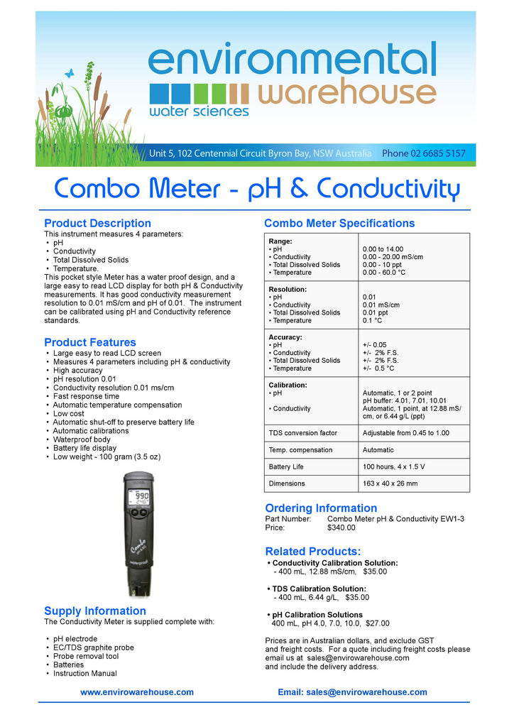 Combo Meter pH & Conductivity measurement device